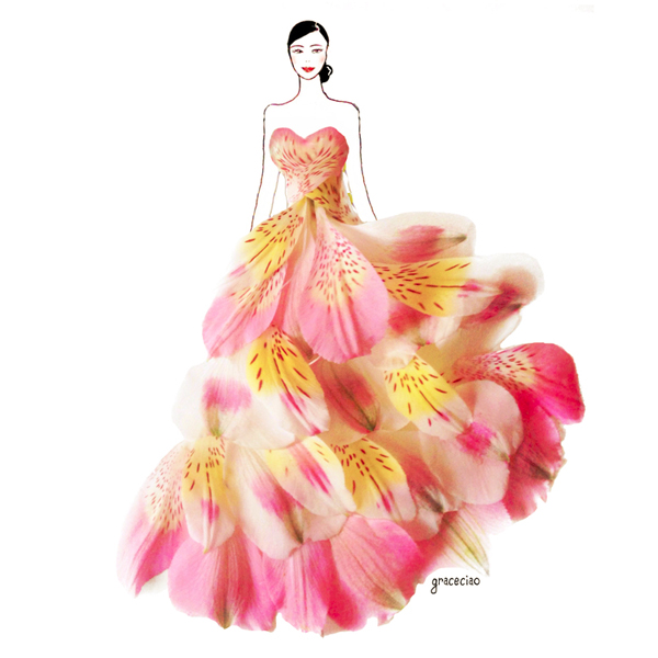 Dress Made Of Flowers Drawing